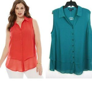 Roaman's 20W Tiered Blouse Teal Button Top NEW